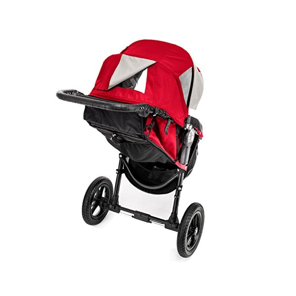 Baby Jogger City Elite Single Stroller Red  Lift one strap and the City Elite folds itself: Simply and compactly, it really is as easy as it sounds and the auto-lock will lock the pushchair for transportation or storage The City Elite offers an array of storage, including a built-in parent console that keeps your most used items at your fingertips, an adjustable handlebar and a hand-operated parking brake keeps all the controls within reach Suitable from birth, the seat reclines to a near flat position with vents and a retractable weather cover plus SPF 50+ hood throws a lot of shade on a sunny day and has a peek-a-boo window with magnetic closure so you can quietly check on your little one 9