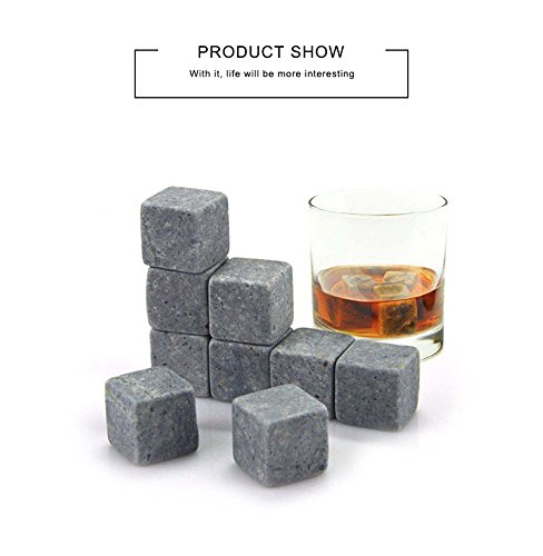 RIANZ Whiskey Stones Ice Stone Reusable Rocks Chilling Cubes in Gift Box with Velvet Pouch Set of 9 Bourbon Whiskey
