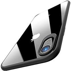 TOZO Funda para iPhone XR, 6,1 Inch (2018) PC + TPU Híbrido Ultrafino [Ajuste Proteger Duro Caso Absorción de Golpes Parachoques Traseros Transparente Protective Carcasa Case Cover [Borde Negro]
