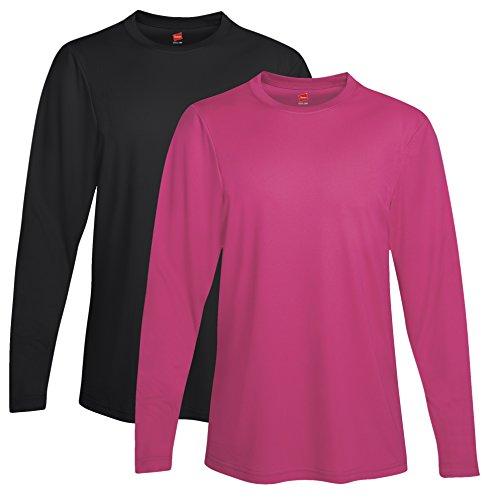 HANES Langarm Cool Dri Performance T-Shirt 2PK (Hanes Langarm-t-shirts Für Männer)