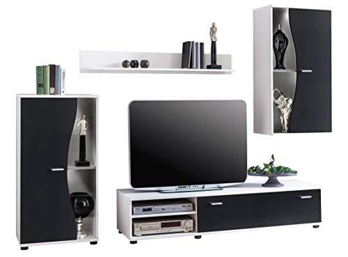 Avanti trendstore - lizzo - parete da soggiorno in legno laminato di colore bianco/nero. dimensioni: lap 243x190x40 cm