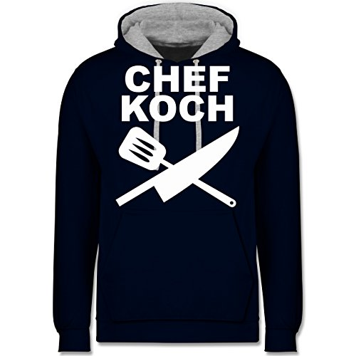 Küche - Chefkoch Messer - Kontrast Hoodie Dunkelblau/Grau meliert