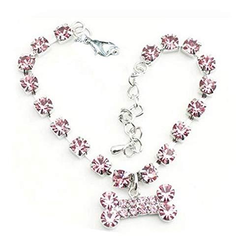 Xiton Verstellbare Hundehalsband Strass Knochen Anhänger Halskette für Hund (L, Pink)
