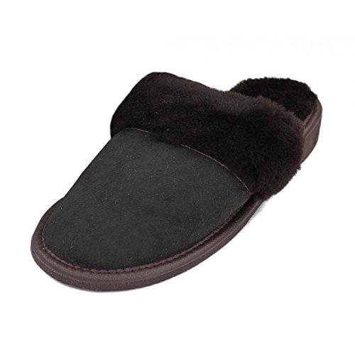 Forfus Damen Lammfell Hausschuhe Leder Gummisohle Pantoffeln, Farbe: Braun, Größe: 38