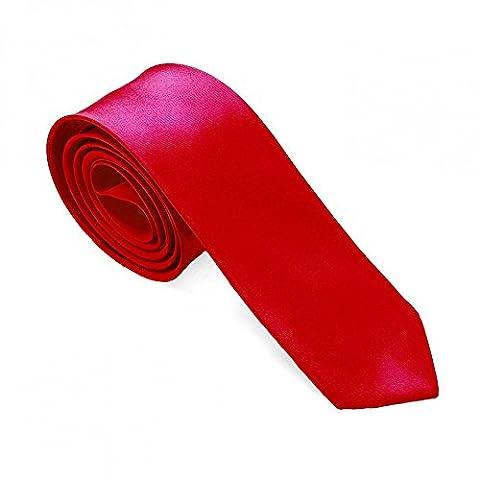 1 Krawatte für Hemd Anzug Schlips Binder Business Schmal Dünn Satin Herren Damen Rot Uni Glänzend