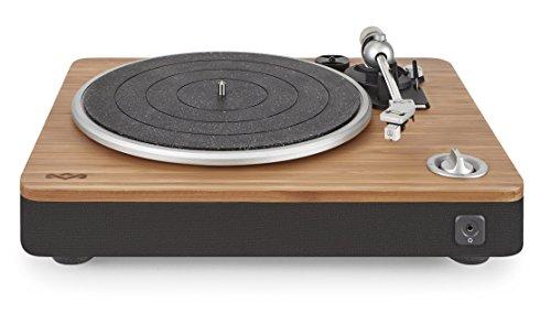 House of Marley Stir It Up Turntable Giradischi, 45/33 Giri, Piatto Lega di Alluminio,Braccio in Metallo Rigido, Cartuccia MM Audio-Technica, Legno/Nero
