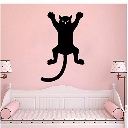 Wandaufkleber 31,6 CM * 50 CM Lustige Katze Auf Einer Wand Silhouette Umriss Aufkleber Aufkleber Grafik PVC