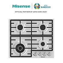 Hisense GM663X, piano cottura a Gas, 4 zone di cottura, larghezza 60 cm, un bruciatore Wok doppia Corona e griglie in ghisa, accensione integrata, materiale Inox anti impronta