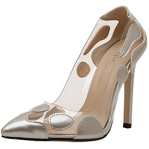 Minetom Donne Moda Stilettos punta scarpe per estate Dots Pattern scarpe con tacco alto Silver (Patent Alta Heel)