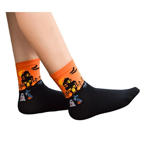 limx 3D Cartoon Liebhaber Socken aus Baumwolle (Orange) (Halloween Grabsteine Cartoon)