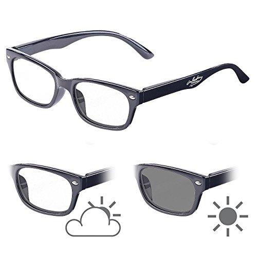 infactory Lese-Brille mit Tönung: Selbsttönende Lesebrille mit UV-Schutz 400, 3,5 Dioptrien (Herren-Brille)