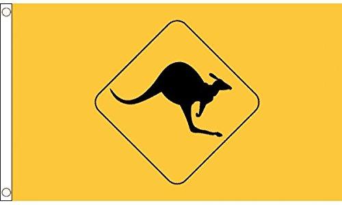 UKFlagShop 5ft x 3ft (150x 90cm) Känguru Schild gelb Australien 100% Polyester Material Flagge Banner Ideal für Club Schule Business Party Dekoration