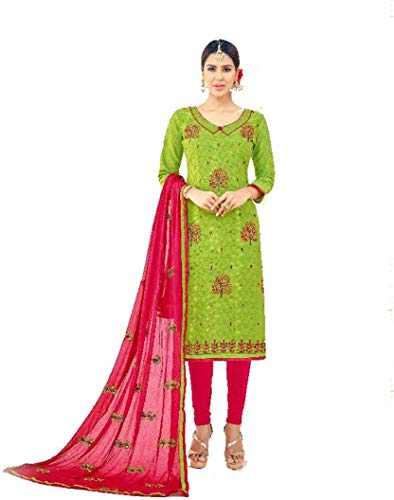 DnVeens Cotton Embroidered Kurta & Churidar Material (Unstitched) for Womens -