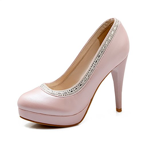 VogueZone009 Damen Ziehen Auf Pu Leder Rund Zehe Hoher Absatz Pumps Schuhe Pink