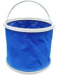 Tela resistente, Ultra portátil forma multifuncional plegable plegable cubo de agua de agua 11L para pesca Camping Senderismo viajes jardinería bolsas de almacenamiento (paquete de 2)
