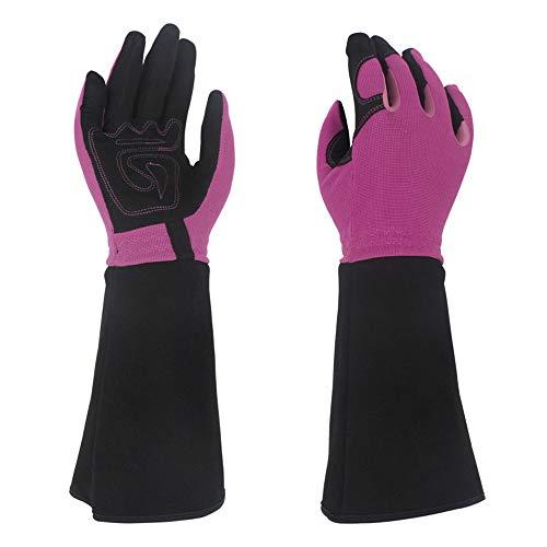 Leder Gartenhandschuhe Langarm, Stichschutzhandschuhe Gartenhandschuhe, Ellenbogen Lange Rose Trim Handschuhe (lila Einheitsgröße) -