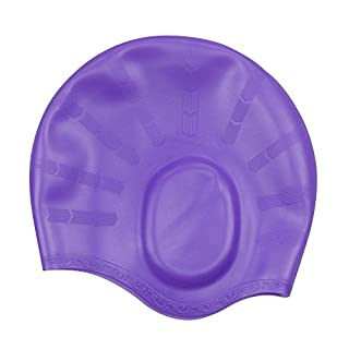 Alxcio Adult Ergonomic Ear Pockets Silicone Swimming Cap Hat Waterproof Anti-Tear High Elastic Bathing Cap, Purple