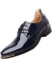 Jiyaru Zapatos de Charol con Cordones Modelo de Negocios para Hombre