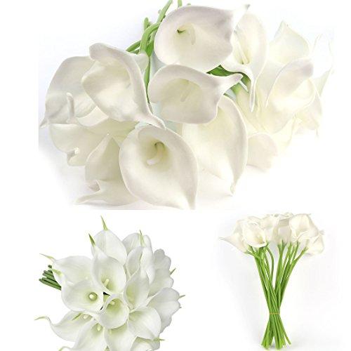 20PCS Künstliche Calla Lily Silk Flowes muyee Real Touch Fake Blumen Hochzeit Blumensträuße weiß - Bouquet Silk Flower Lila