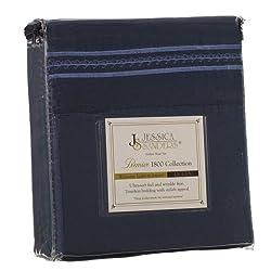 Jessica Sanders Premier 1800 Series 4pc Bed Sheet Set - Queen, Navy Blue,  - Jessica Sanders Embroidery