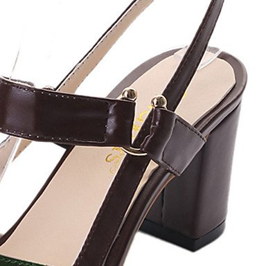 LvYuan Da donna Sandali PU (Poliuretano) Primavera Estate Footing Fibbia Quadrato Bianco Verde militare Marrone scuro 5 - 7 cm Dark Brown
