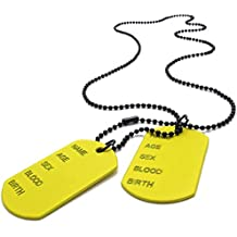 AnaZoz Joyería de Moda Collar de Hombre Acero Inoxidable Colgante 2pcs Etiqueta de Perro Link Collar Army Amarillo Joyería de Moda Para Hombre