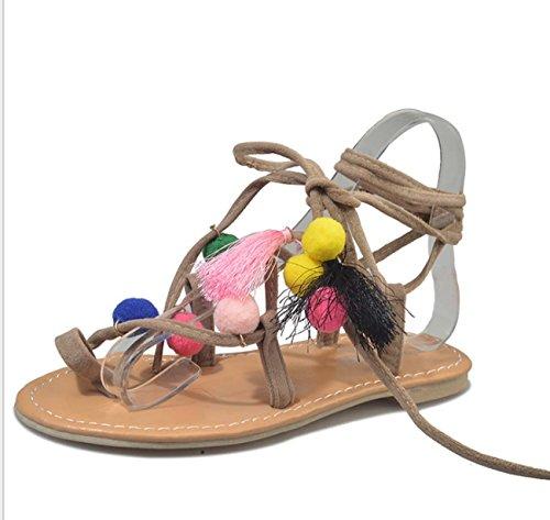 FARALY Donne Ballerine Romano Scarpe A Punta Delle Clip Moda Cross Band Candy Color Scarpe Casual Pink