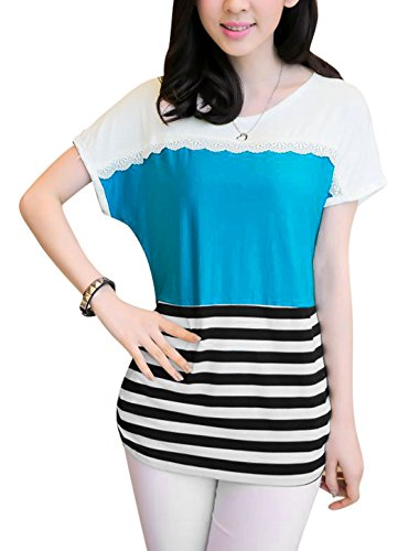 Lady's, Streifen, kontrastfarbene Raffung Tee Shirt Blau - Blau