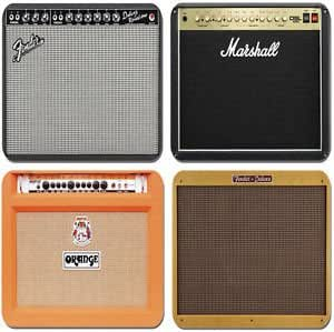 Vintage Amplifier Amp Coasters Set Of 4. Fender Deluxe Reverb,Marshall,Orange