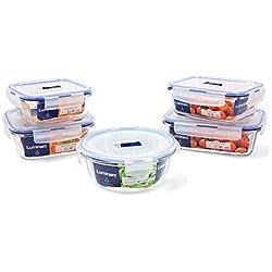Luminarc Pure Box Active Lot de 5 récipients hermétiques en verre, extra résistants, sans BPA, valve pour micro-ondes
