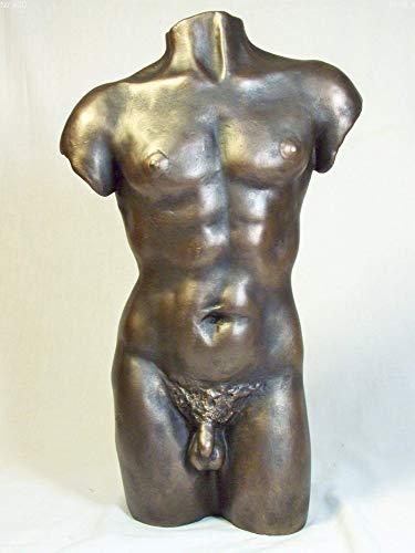 Skulptur Statue Figur, männlicher Torso, Kaltguss-Bronze -
