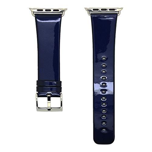 Farbe Ersatz Leder Band für Apple Watch Serie 1234 42mm/44mm (Dunkelblau,42/44mm) ()