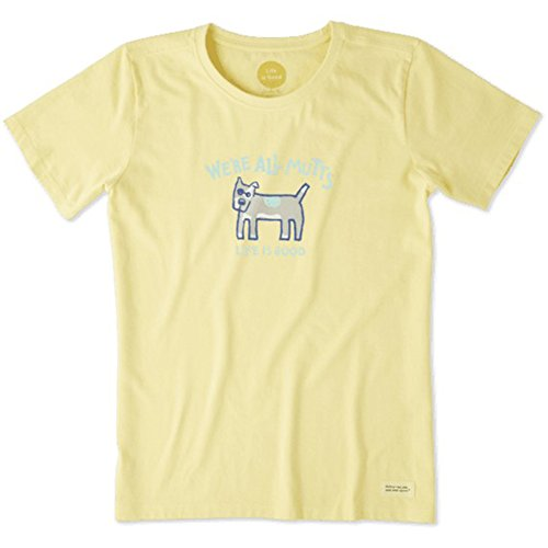 Life is Good Damen Crusher Tee WE 'RE ALL Mutts, damen, Happy Yellow (Damen-crusher)