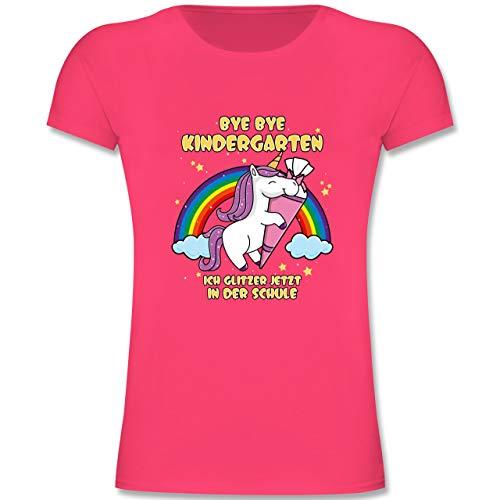 Einschulung und Schulanfang - Bye Bye Kindergarten ich Glitzer jetzt in der Schule - 140 (9-11 Jahre) - Fuchsia - F131K - Mädchen Kinder T-Shirt - Mädchen Glitzer T-shirt