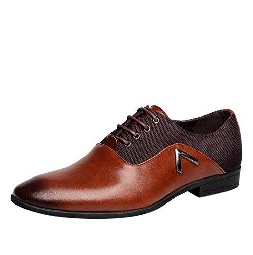 wenjhen hommes Robe formelle Chaussures à lacets, UK6, noir marron