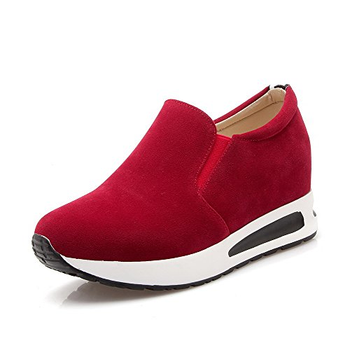 VogueZone009 Damen Ziehen Auf Rund Zehe Nubukleder Gemischte Farbe Pumps Schuhe Rot