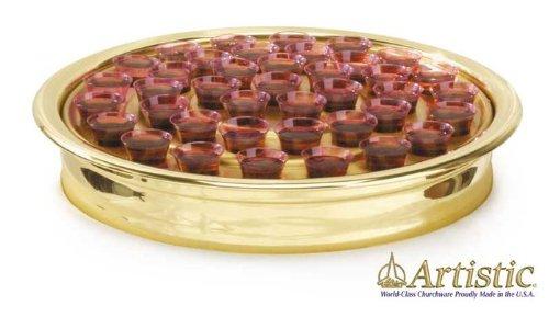 Artistic Churchwar Brasstone Aluminum Communion Cup Tray