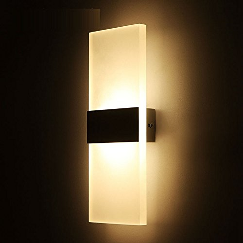 OWIKAR 6W LED Wall Light Sconces Lamp 8.66x4.33inch Small Size Fixture Acrylic Decorative Lamp With Black Aluminum Junction Box For Bedroom Living Room Balcony Corridor Soft Warm Light
