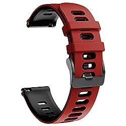 NotoCity Armband für Samsung Galaxy Watch 46mm/Gear S3 Frontier/Gear S3 Classic/Huawei Watch GT 2 /Huawei Watch GT/Sport/Active/Classic, 22mm Quick-Fit Ersatz Uhrenarmbänder (Rot-Schwarz)