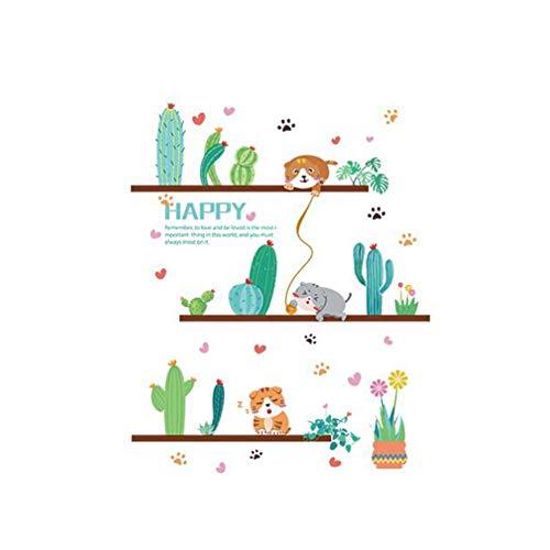 strimusimak Selbstklebender entfernbarer Tapeten-Wandaufkleber mit Katzen-Kaktus-Bonsai-Entwurfs-Abziehbild-Küchen-Café-Dekor Cafe Küche Dekor