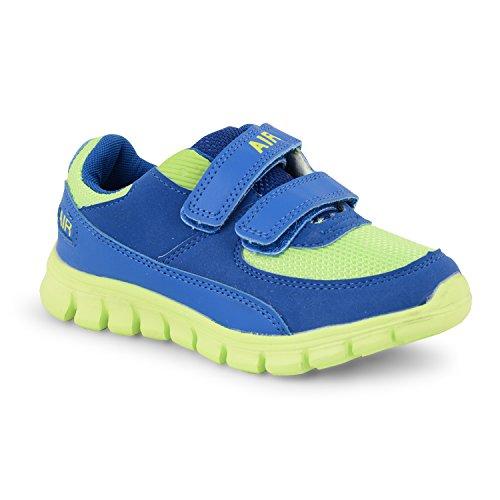 Neue Mädchen Jungen Kinder Casual Running Walking Klettverschluss Sport Turnschuhe Schuhe UK Größen Blue Lime