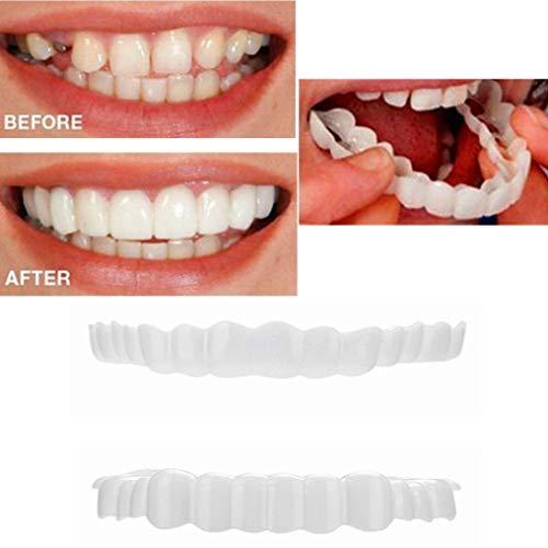 huichang Perfect Smile Zahnersatz Komfort Fit Flex - Die Unglaublichen und sofortigen wiederverwendbaren und Abnehmbaren Veneers, die Dir den Blick der Perfekten Zähne Geben (2 Stück Oben + Unten)