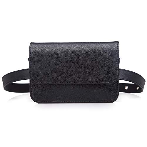 Signice Gürteltasche Bauchtasche Damen Leder Klein Hüfttasche Mode Bum Bag Stylisch Fanny Pack Bauchtaschen für Frauen Schwarz (Anzug Womens Schwarzen)
