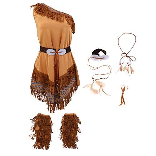 Tubayia Frauen Stammes Indische Kostüm Fransen Stiefel TopsStirnband Taille Gürtel Zubehör für Halloween Cosplay Party