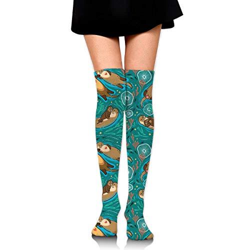 Otters In Love Women Girls Funny Knee High Socks Novelty Crew Socks Boot Socks Mens Socks