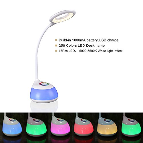 HIHIGOU 256 Colors LED Touch Desk Lamp 3 Level Dimmable Reading Lamp Eye Protection Colors Changing Base Touch Control Desk Light USB Charge Flexible Neck Smooth Edges Table lamps Reading Light Xmas Test
