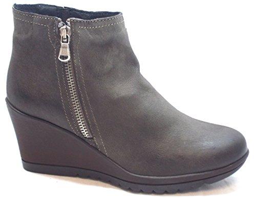 Keys Flex & fly Schuhe Damen Stiefeletten Wedge cm 7 Boot Zip Nubuk 7863 CAFFE Caffè