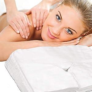Cleaing 43×33 cm Einweg Gesichtsauflage für die Kopfstütze von Massage-Liegen Nasenschlitz-Tücher aus weichem Vlies für alle Kosmetik-Tische und Therapie-Bänke 100 Stück