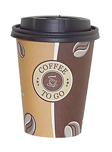 Gastro-Bedarf-Gutheil 100 Pappbecher Einwegbecher Coffee to go 0,3 L Top Becher mit 100 Deckel in schwarz EINWEG