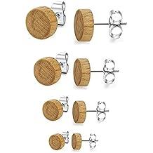 bc36673c2c58 BESTEEL 4 pares de acero inoxidable pendientes de madera para hombres  mujeres Studs pendientes piercing oreja